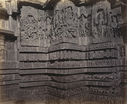 Views in Mysore. Ruined temple of Hallabeed [Hoysalesvara Temple, Halebid]. Carvings on western face